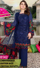 Load image into Gallery viewer, WYSK-8142 - HANDWORKED FULL EMBROIDERED DESIGNER 3PC COTTON SUIT WITH CHIFFON DUPATTA - SUMMER COLLECTION 2020 / 2021