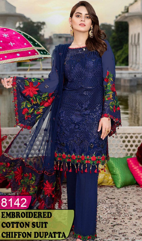 WYSK-8142 - HANDWORKED FULL EMBROIDERED DESIGNER 3PC COTTON SUIT WITH CHIFFON DUPATTA - SUMMER COLLECTION 2020 / 2021