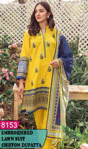 WYSK-8153 - FRONT EMBROIDERED DESIGNER 3PC LAWN SUIT WITH CHIFFON DUPATTA - SUMMER COLLECTION 2020 / 2021