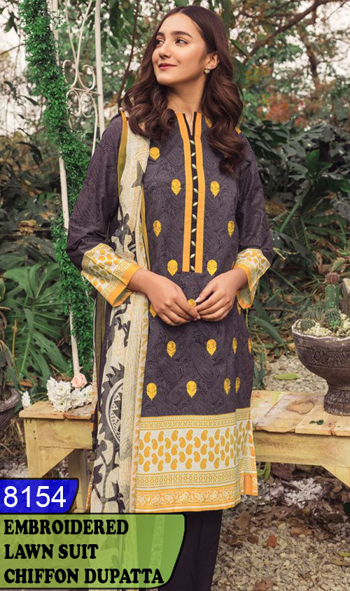 WYSK-8154 - FRONT EMBROIDERED DESIGNER 3PC LAWN SUIT WITH CHIFFON DUPATTA - SUMMER COLLECTION 2020 / 2021