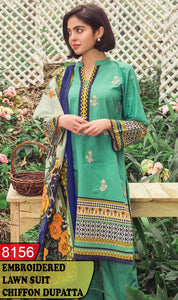 WYSK-8156 - FRONT EMBROIDERED DESIGNER 3PC LAWN SUIT WITH CHIFFON DUPATTA - SUMMER COLLECTION 2020 / 2021