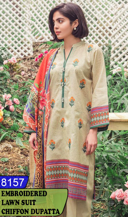 WYSK-8157 - FRONT EMBROIDERED DESIGNER 3PC LAWN SUIT WITH CHIFFON DUPATTA - SUMMER COLLECTION 2020 / 2021