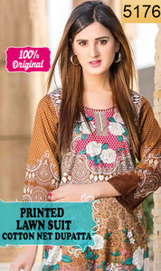 WYSL-5176 - PRINTED ORIGINAL 3PC LAWN SUIT WITH COTTON NET DUPATTA - SUMMER COLLECTION 2018- 2019