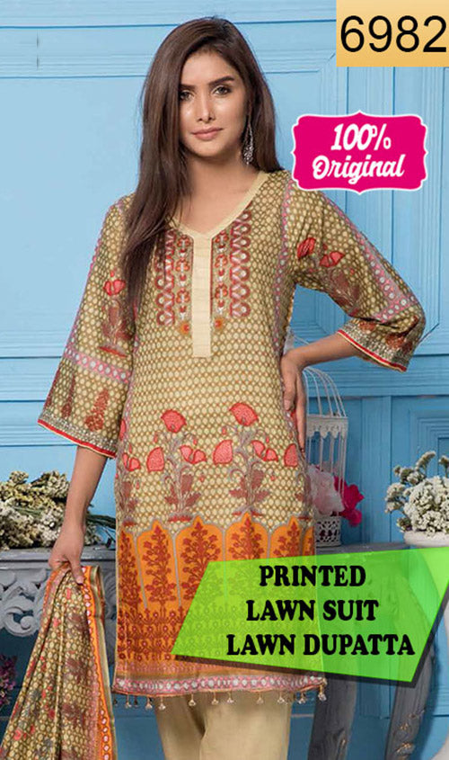WYSL-6982 - PRINTED ORIGINAL 3PC LAWN SUIT WITH LAWN DUPATTA - SUMMER COLLECTION 2019 - 2020