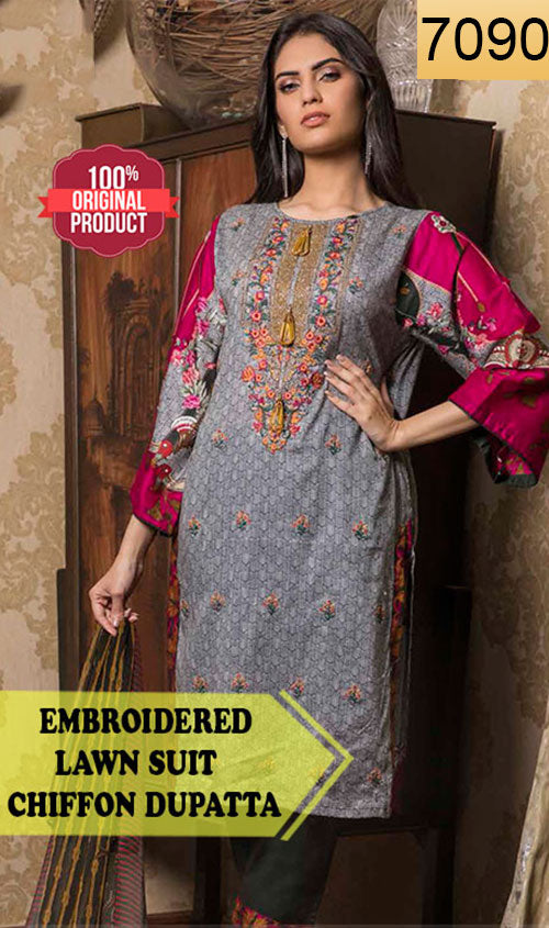 WYSL-7090 - FRONT EMBROIDERED DESIGNER 3PC ORIGINAL LAWN SUIT WITH CHIFFON DUPATTA - SUMMER COLLECTION 2019 - 2020