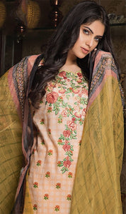 WYSL-7092 - NECK EMBROIDERED DESIGNER 3PC ORIGINAL LAWN SUIT WITH CHIFFON DUPATTA - SUMMER COLLECTION 2019 - 2020