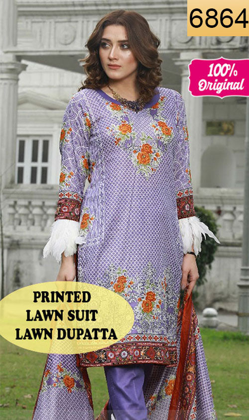 WYTS-6864 - PRINTED ORIGINAL 3PC LAWN SUIT WITH LAWN DUPATTA - SUMMER COLLECTION 2019 - 2020