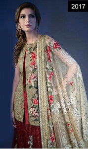WYYH- 2017- FULL EMBROIDERY Designer 3PC Chiffon Suit With NET Dupatta - PARTY WEAR DRESS