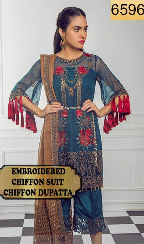WYYH-6596 - FULL EMBROIDERED DESIGNER 3PC CHIFFON SUIT WITH CHIFFON DUPATTA - PARTY WEAR DRESS 2019 - 2020
