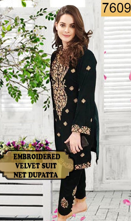 WYYH-7609 - FULL EMBROIDERED DESIGNER 3PC VELVET SUIT WITH NET DUPATTA - WINTER COLLECTION 2020 - 2021