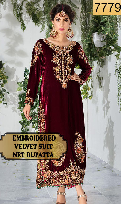 WYYH-7779 - FULL EMBROIDERED DESIGNER 3PC VELVET SUIT WITH NET DUPATTA - WINTER COLLECTION 2019 / 2020