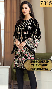 WYYH-7815 - FULL EMBROIDERED DESIGNER 3PC VELVET SUIT WITH NET DUPATTA - WINTER COLLECTION 2019 / 2020