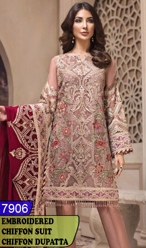 WYYH-7906 - FULL EMBROIDERED DESIGNER 3PC CHIFFON SUIT WITH CHIFFON DUPATTA - PARTY WEAR DRESS 2019 - 2020