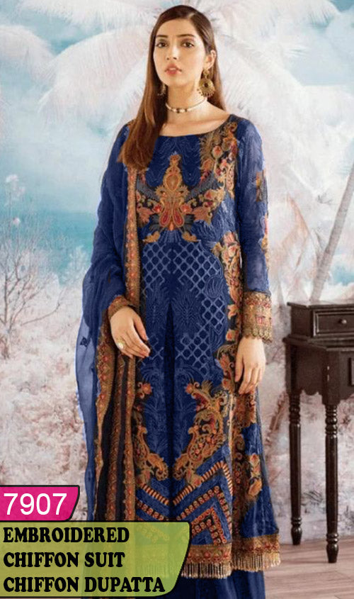 WYYH-7907 - HEAVY HANDWORKED FULL EMBROIDERED DESIGNER 3PC CHIFFON SUIT WITH CHIFFON DUPATTA - PARTY WEAR DRESS 2019 - 2020
