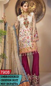 WYYH-7908 - HEAVY HANDWORKED FULL EMBROIDERED DESIGNER 3PC CHIFFON SUIT WITH NET DUPATTA - PARTY WEAR DRESS 2019 - 2020