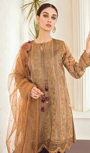 WYYH-7912 - FULL EMBROIDERED DESIGNER 3PC CHIFFON SUIT WITH NET DUPATTA - PARTY WEAR DRESS 2019 - 2020