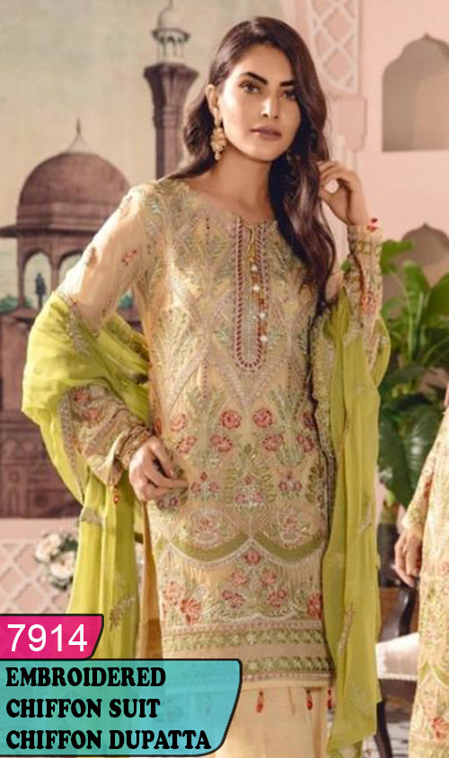 WYYH-7914 - HEAVY HANDWORKED FULL EMBROIDERED DESIGNER 3PC CHIFFON SUIT WITH CHIFFON DUPATTA - PARTY WEAR DRESS 2019 - 2020