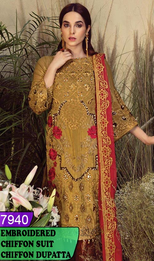 WYYH-7940 - HEAVY HANDWORKED FULL EMBROIDERED DESIGNER 3PC CHIFFON SUIT WITH CHIFFON DUPATTA - PARTY WEAR DRESS 2020 / 2021