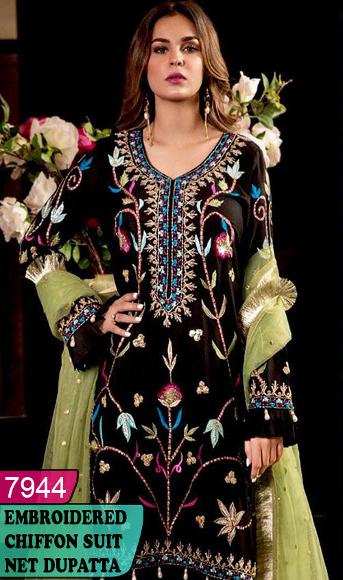 WYYH-7944 - HEAVY HANDWORKED FULL EMBROIDERED DESIGNER 3PC CHIFFON SUIT WITH NET DUPATTA - PARTY WEAR DRESS 2020 / 2021