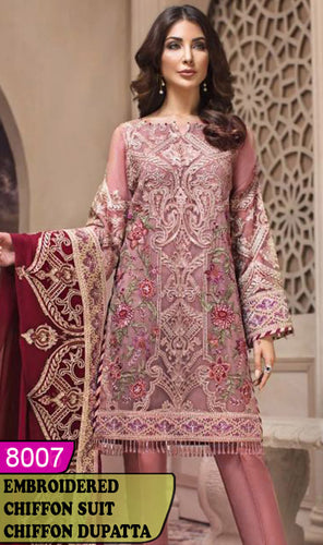 WYYH-8007 - FULL EMBROIDERED DESIGNER 3PC CHIFFON SUIT WITH CHIFFON DUPATTA - PARTY WEAR DRESS 2020 / 2021