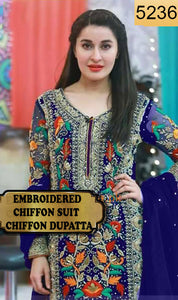 WYYS-5236 - FULL EMBROIDERED DESIGNER 3PC CHIFFON SUIT WITH CHIFFON DUPATTA - PARTY WEAR DRESS