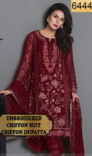 Load image into Gallery viewer, WYYS-6444 - FULL EMBROIDERED DESIGNER 3PC CHIFFON SUIT WITH CHIFFON DUPATTA - PARTY WEAR DRESS 2019/2020