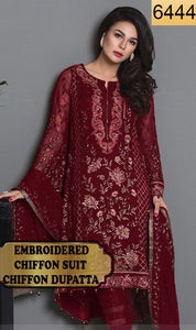WYYS-6444 - FULL EMBROIDERED DESIGNER 3PC CHIFFON SUIT WITH CHIFFON DUPATTA - PARTY WEAR DRESS 2019/2020