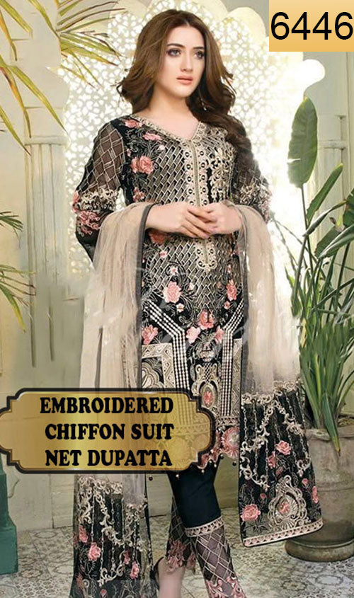 WYYS-6446 - FULL EMBROIDERED DESIGNER 3PC CHIFFON SUIT WITH NET DUPATTA - PARTY WEAR DRESS 2019/2020