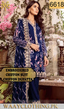 Load image into Gallery viewer, WYYS-6618 - FULL EMBROIDERED DESIGNER 3PC CHIFFON SUIT WITH CHIFFON DUPATTA - PARTY WEAR DRESS 2019/2020