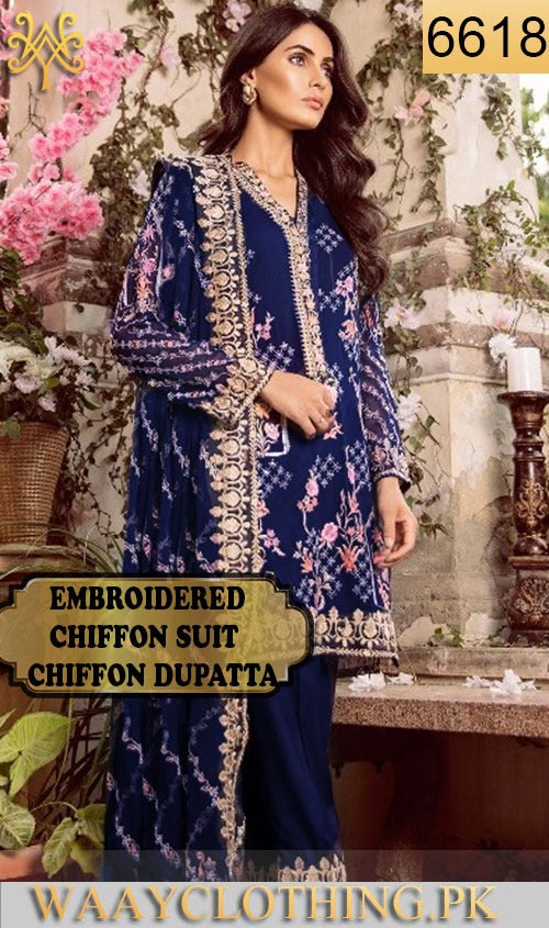 WYYS-6618 - FULL EMBROIDERED DESIGNER 3PC CHIFFON SUIT WITH CHIFFON DUPATTA - PARTY WEAR DRESS 2019/2020