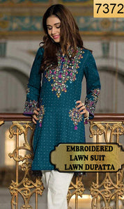 WYYS-7372 - FULL EMBROIDERED DESIGNER 3PC LAWN SUIT WITH LAWN DUPATTA  - SUMMER COLLECTION 2019/2020