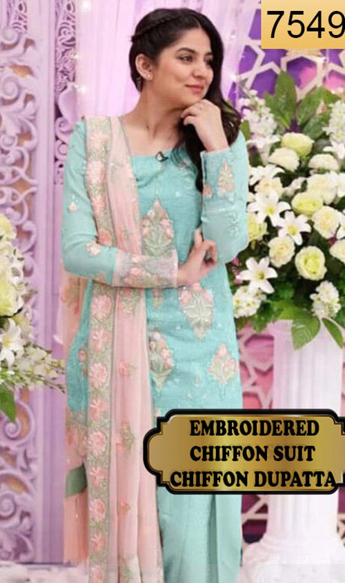WYYS-7549 - FULL EMBROIDERED DESIGNER 3PC CHIFFON SUIT WITH CHIFFON DUPATTA - PARTY WEAR DRESS 2019/2020