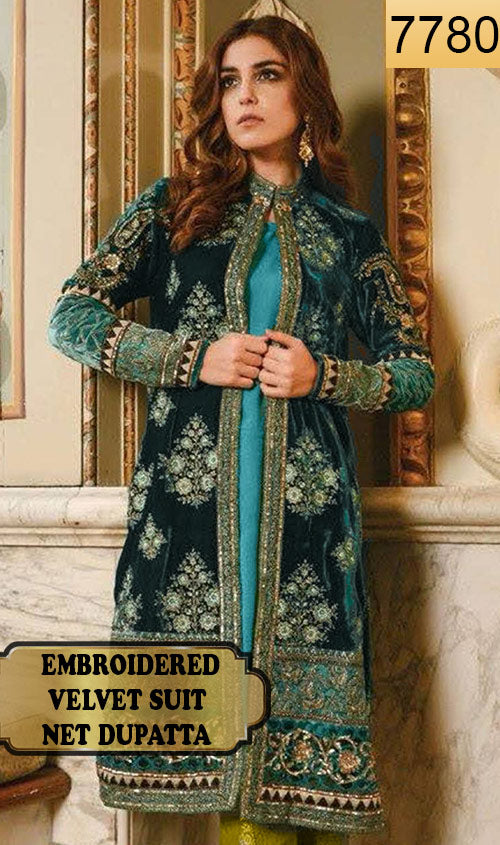 WYYS-7780 - FULL EMBROIDERED DESIGNER 3PC VELVET SUIT WITH NET DUPATTA - PARTY WEAR DRESS 2019/2020