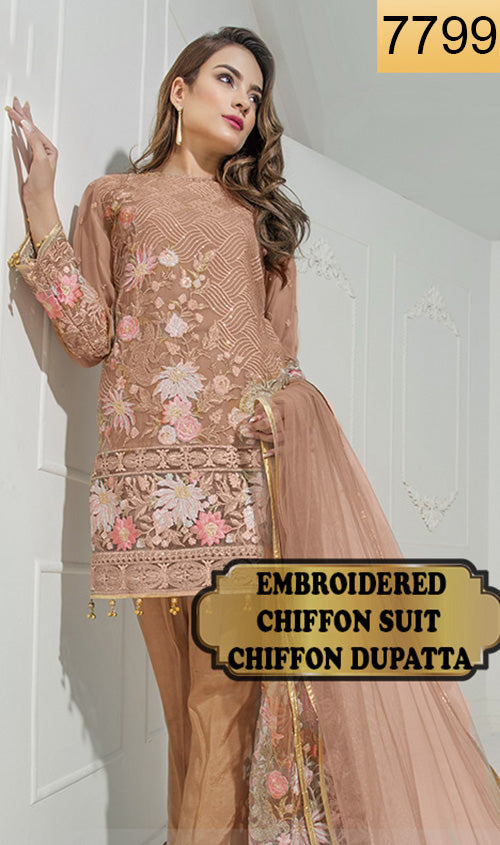 WYYS-7799 - FULL EMBROIDERED DESIGNER 3PC CHIFFON SUIT WITH CHIFFON DUPATTA - PARTY WEAR DRESS 2019/2020