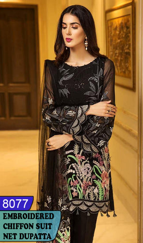 WYYS-8077 - FULL EMBROIDERED DESIGNER 3PC CHIFFON SUIT WITH NET DUPATTA - PARTY WEAR DRESS 2020/2021