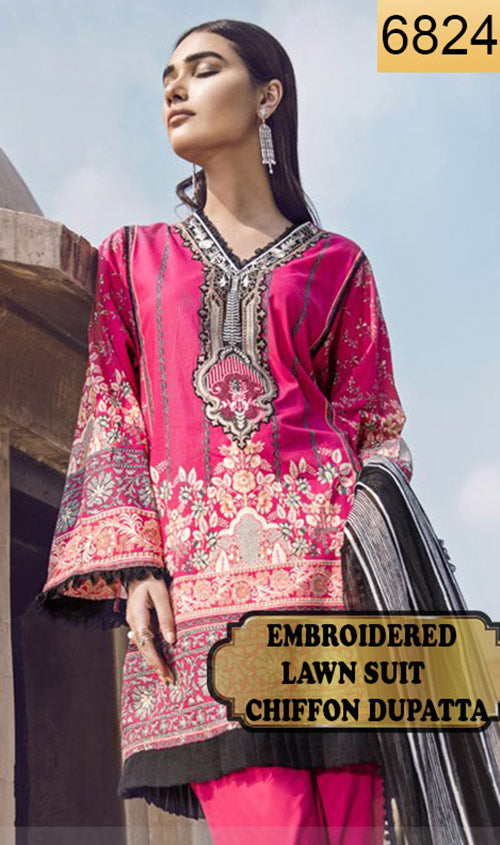 WYZA-6824 - FULL EMBROIDERED DESIGNER 3PC LAWN SUIT WITH CHIFFON DUPATTA - SUMMER COLLECTION 2019- 2020