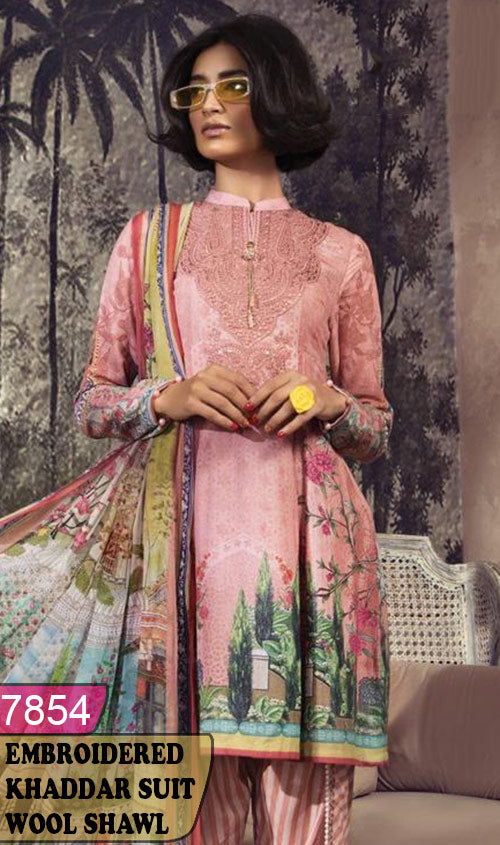 WYZA-7854 - NECK EMBROIDERED DESIGNER 3PC KHADDAR SUIT WITH WOOL SHAWL DUPATTA - WINTER COLLECTION 2019 / 2020