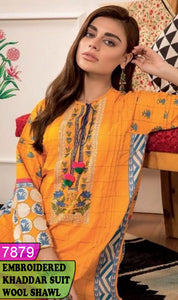 WYZA-7879 - NECK EMBROIDERED DESIGNER 3PC KHADDAR SUIT WITH WOOL SHAWL DUPATTA - WINTER COLLECTION 2019 / 2020