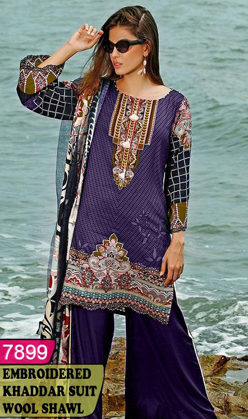 WYZA-7899 - NECK EMBROIDERED DESIGNER 3PC KHADDAR SUIT WITH WOOL SHAWL DUPATTA - WINTER COLLECTION 2019 / 2020