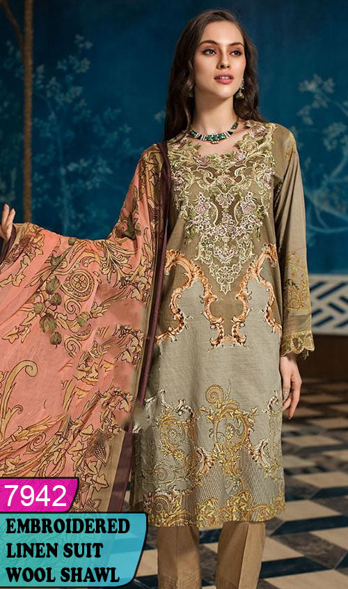 WYZA-7942 - NECK EMBROIDERED DESIGNER 3PC LINEN SUIT WITH WOOL SHAWL DUPATTA - WINTER COLLECTION 2020 / 2021