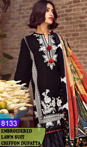 WYZA-8133 - FRONT EMBROIDERED DESIGNER 3PC LAWN SUIT WITH CHIFFON DUPATTA - SUMMER COLLECTION 2020/2021