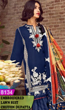 Load image into Gallery viewer, WYZA-8134 - FRONT EMBROIDERED DESIGNER 3PC LAWN SUIT WITH CHIFFON DUPATTA - SUMMER COLLECTION 2020/2021