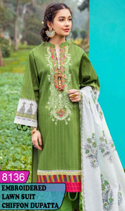 WYZA-8136 - NECK EMBROIDERED DESIGNER 3PC LAWN SUIT WITH CHIFFON DUPATTA - SUMMER COLLECTION 2020/2021