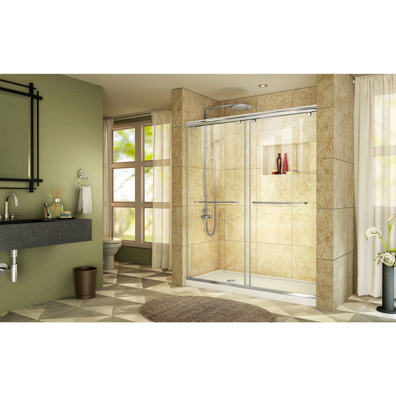 DreamLine Charisma 32 in. D x 60 in. W x 78 3/4 in. H Frameless Bypass Sliding Shower Door and SlimLine Shower Base Kit - BNGBath