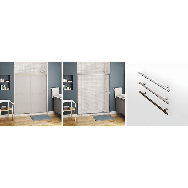 Chrome Shower Door With 6mm Mistelite Glass MAAX Kameleon 55-59in X 71in - BNGBath