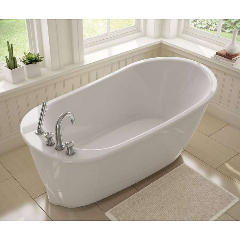 60in X 32in X 25in Oval Freestanding Fiberglass Soaking Bathtub With End Drain, In White - BNGBath