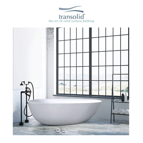 Transolid SML6733-01 Marisol Grande 67-in L x 33in W x 22in H Resin Stone Freestanding Bathtub with center drain, in White - BNGBath