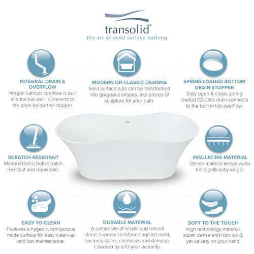 Transolid SMU6429-01 Melody 64-in x 28-in Resin Stone Freestanding Bathtub with center drain, in White - BNGBath