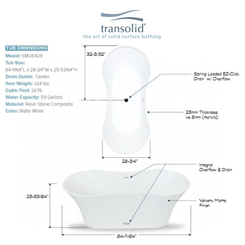 Transolid SMU6429-T4200 Muse Resin Stone 64-in Center Drain Freestanding Tub and Faucet Kit - BNGBath