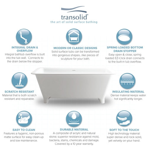 Transolid SMN6030 Milan 60in. Freestanding Resin Stone Bathtub with Center Drain, in White - BNGBath